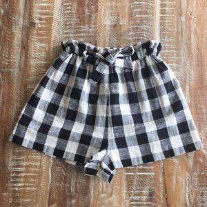 Topshop gingham cottagcore paper bag shorts